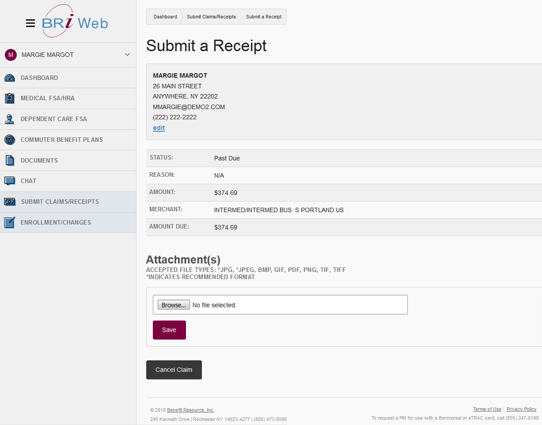 submitting receipts walk through benefit resource inc