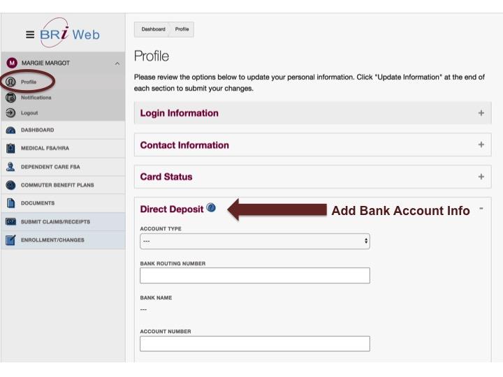 Add direct deposit bank account for reimbursements through BRiWeb