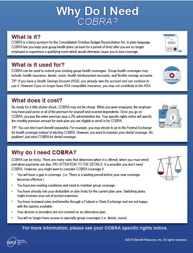 Six Reasons To Consider Cobra Coverage Bri Benefit Resource
