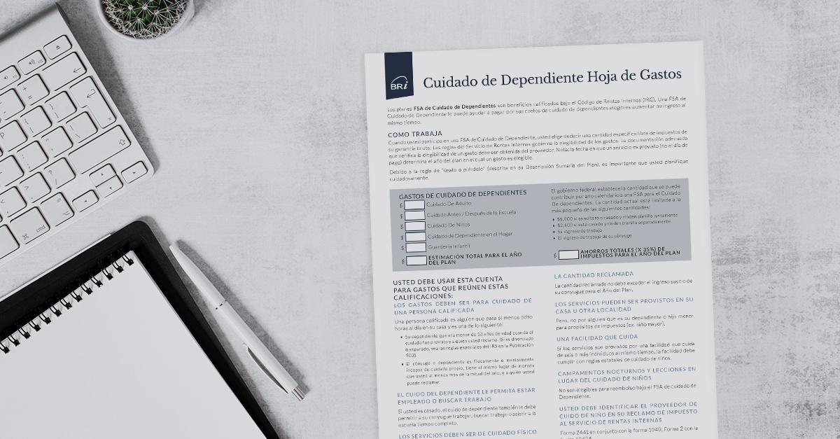 [Flyer-Spanish] Dependent Care Expense Worksheet